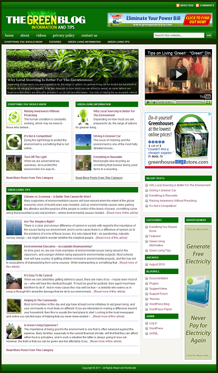 Green Living Blog Template (PLR / MRR)