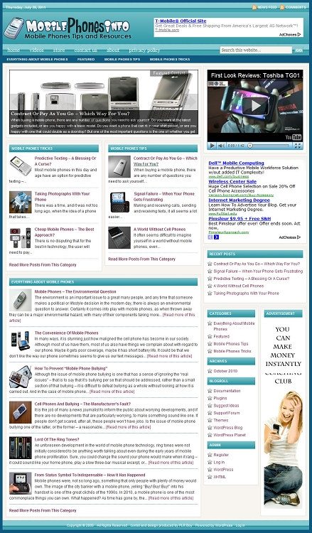 Mobile Phones Blog Template (PLR / MRR)