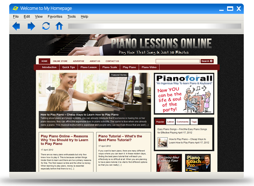 Piano Lessons Online Blog Theme PLR (MRR)